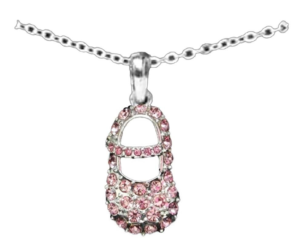 pendant silver pave flower topaz cz charm gold rose pink baby shoe vermeil babyshoe jewelry necklace bow bling