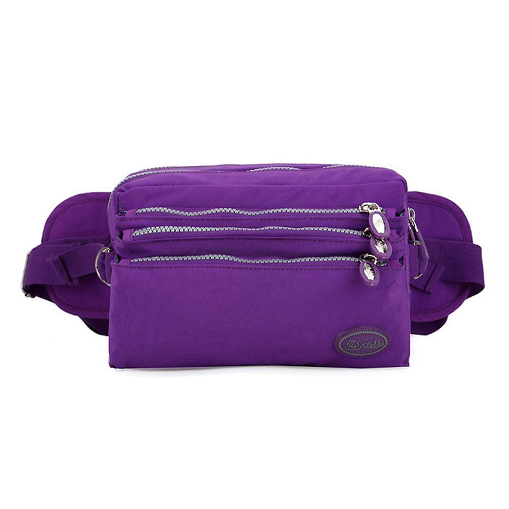TOP-UP women's Coloful Fanny Pack,Nylon Waist Bag 5 Zippered Compartments Tour Lumbar Pack Sports Bag