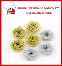 factory price gold/silver metallic ribbon Flower Rose