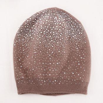 887148ed Custom Shiny Rhinestone Hot Drill Heat Transfer Autumn Winter Acrylic Knitted  Beanie Hat