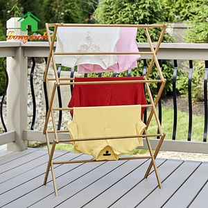 Household Bamboo wooden standing portable extendable outdoor towel laundry drying rack