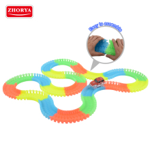 Zhorya OEM plastic rainbow color electric stunt glow in dark slot race car toy track with lighting mini car toys