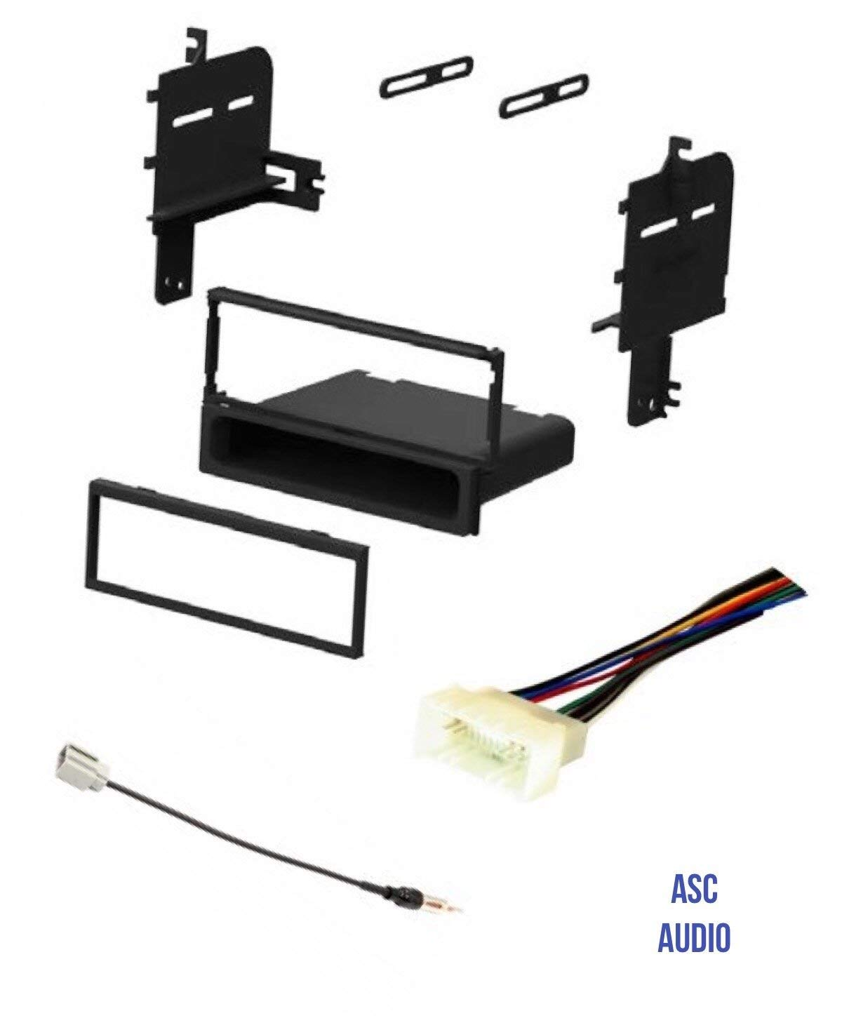 ASC Car Stereo Radio Install Dash Kit, Wire Harness, and Antenna Adapter for installing an Aftermarket Single Din Radio for 2009 2010 Kia Sportage