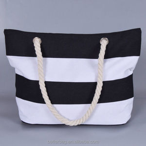 Heavy Duty Standard Size Striped Canvas Cotton Rope Handle Tote Beach Towel Bags With Custom Logo