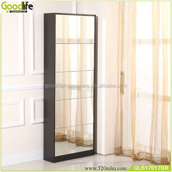 Living Room Luxury Cabinet High Gloss Shoe Cabinet With Mirror Cover