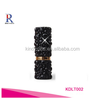 Bling bling fashional black crystal decoration unique popular wholesale lipstick tube