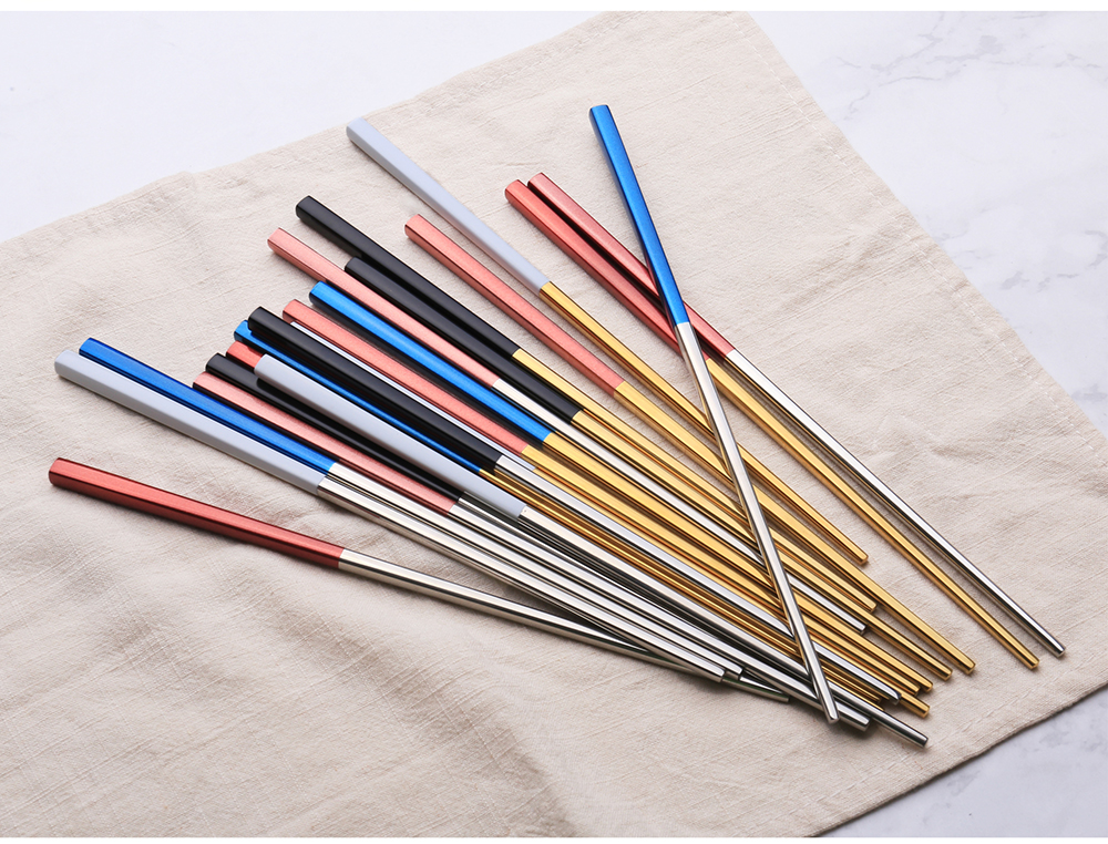 Korean Custom Color Stainless Steel Titanium Chopsticks for Sushi Wedding Gift Souvenirs