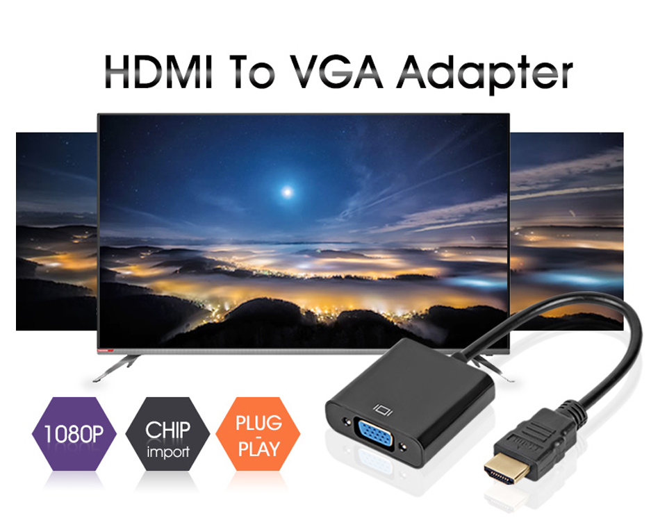 SIPU Wholesale ISO9001 male to female hdmi to vgawith AV and power  converter hdmi to vga adapter hdmi to vga