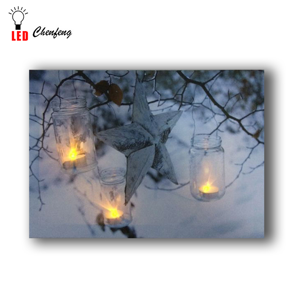 Star and candles in winter picture wall <strong>art</strong> with led lights canvas printing for home decoration hot sale amazon