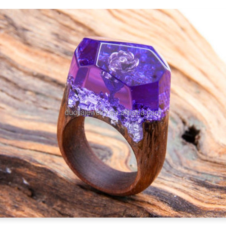 Handmade Purple Rose style Wood Ring Resin Ring Wood Jewelry Resin Jewelry for women