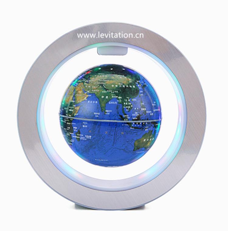 World map, world political map globe, magnetic levitating and rotating plastic globe
