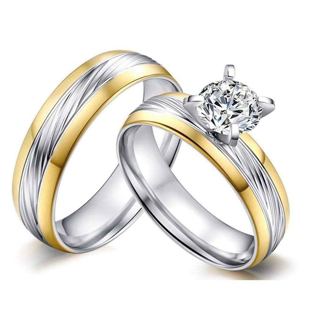 34082d3904 ... Cubic Zinconia CZ Promise Engagement Rings. Get Quotations · ROWAG High  Polished 6mm Mens Titanium Stainless Steel Couple Wedding Bands for Him and  Her ...