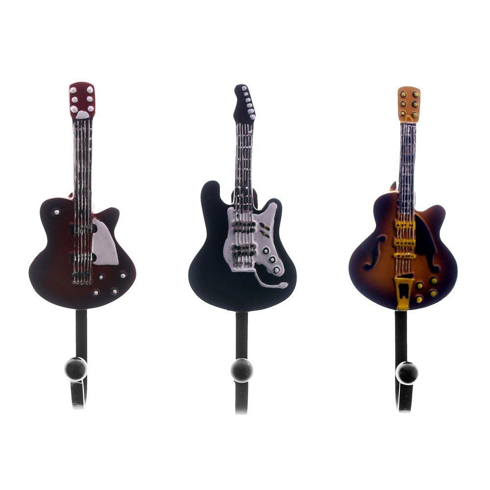 Get Quotations · 3pieces/Set Antique Music Wall Mounted Hook Kitchen Hanger Decorative Guitar Coat Hooks Unique Gift