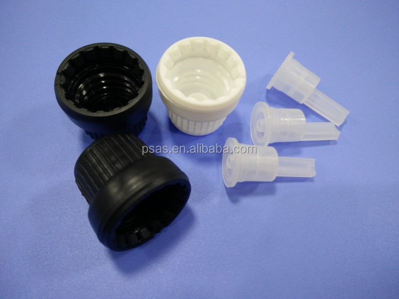 Plastic essential oil bottle caps temper proof screw with dropper insert