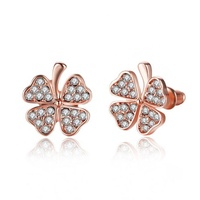 Pure 925 sterling silver jewelry earrings Girls Woman rose gold crystal CZ 4 leaf clover stud earrings
