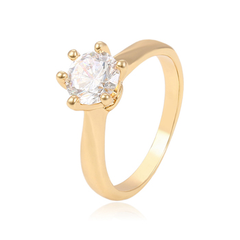 13948 Fashion jewelry finger rings 18k gold zircon rings single stone designs for Women