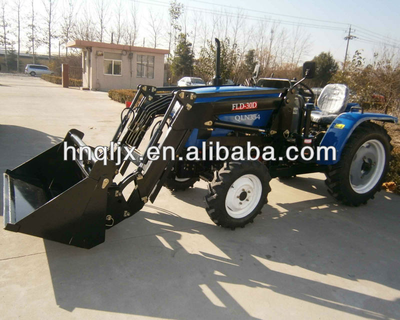 compact tractor with 4 wheel front end loader and backhoe attachments 25hp to 35hp