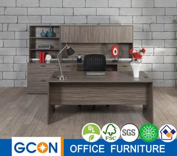 elegant executive office desk set w wall units in urban walnut