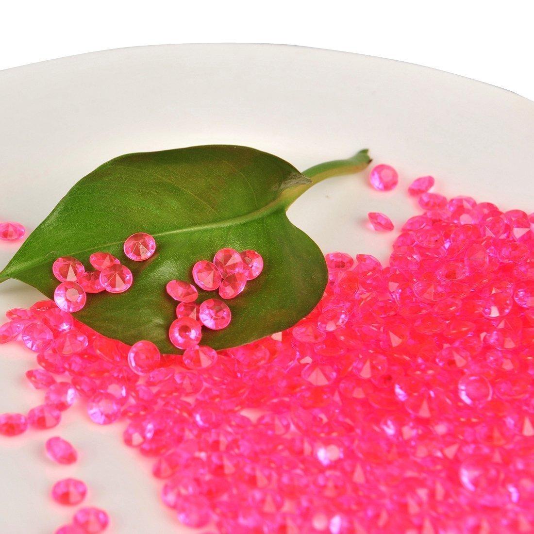 Vijara 1000 Diamond Table Confetti Wedding Bridal Shower Party Decorations 1/3ct 45mm Clear Pink