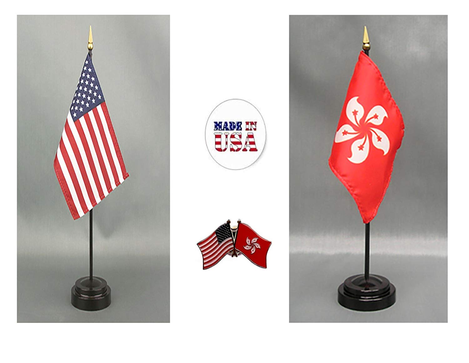 "Made in The USA. 1 American and 1 Hong Kong Rayon 4""x6"" Office Desk & Little Hand Waving Table Flag, Includes 2 Flag Stands & 2 Small 4""x6"" Mini Stick Flags, 1 US/Hong Kong Friendship Flag Lapel Pin."