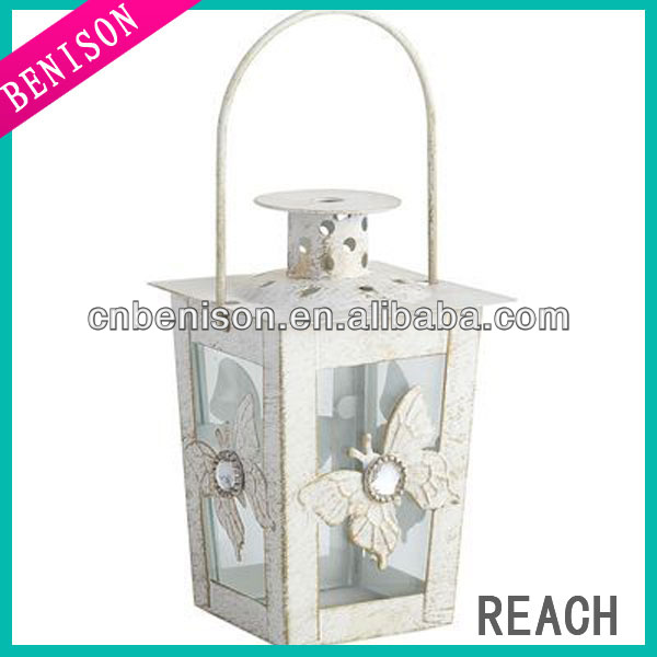 Outdoor decorative white metal lanterns square glass candle holder