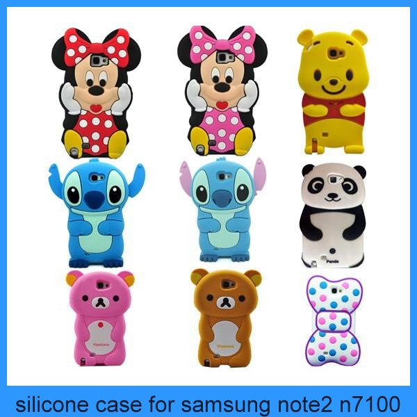 For Samsung Galaxy Note 2 N7100 Cover 3D Silicone Soft Animal Cell Phone Case