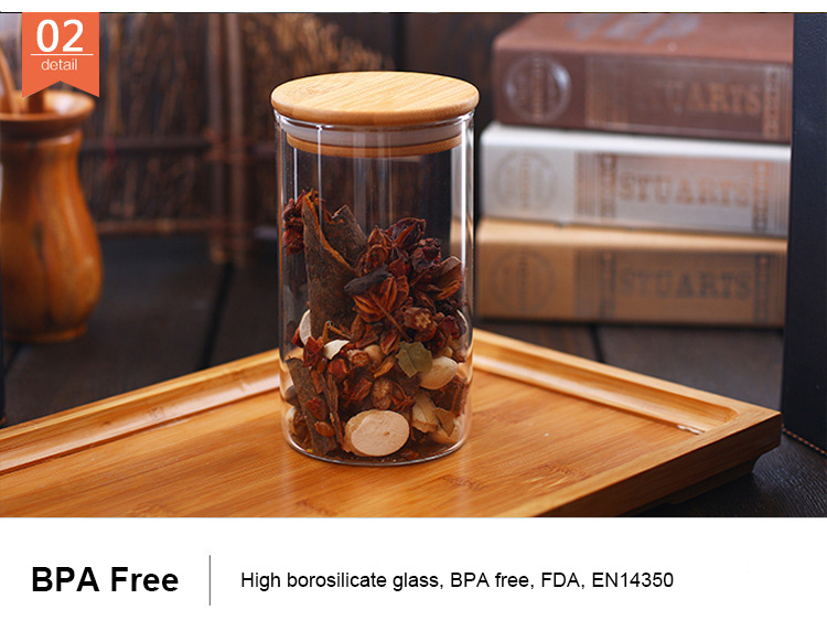 175ml small kitchen storage container clear glass jar with bamboo lid