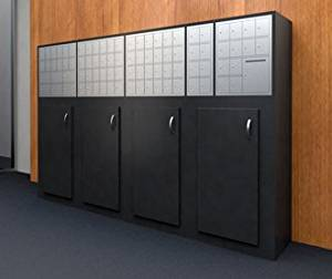 Charnstrom Large Laminated Wood Cabinet with Storage Doors and Mailboxes (3285)