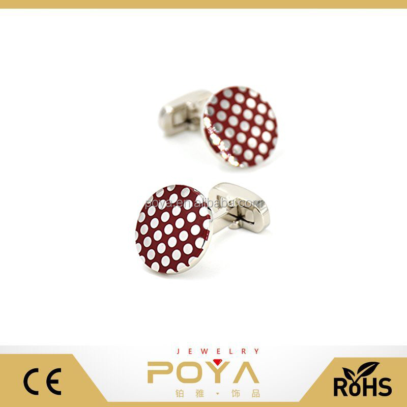 POYA Jewelry Polka Dots Cufflinks Enamel Red Round Wave Cuff Links Set Wedding Business Men's Jewelry Gift