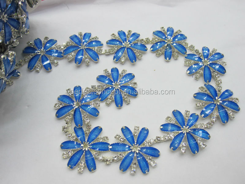 Hot selling resin flower trimming/ trimming for clothes/transparent clear/blue/purple/green/white/silver trim