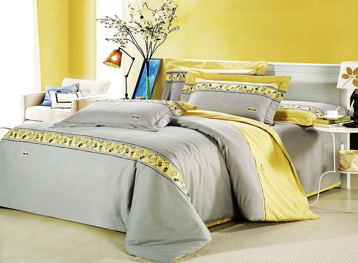 Romantic Modern Island Vacation Gray And Yellow 4pcs Hotel