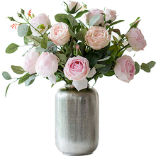 High quality artificial rose nearly natural Kenya rose with vase moisturized flowers for wedding decoration