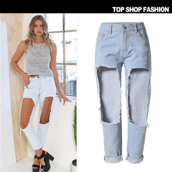 c570272f8d5 B10017A Latest women ripped jeans casual pants slim sexy lady BF jeans