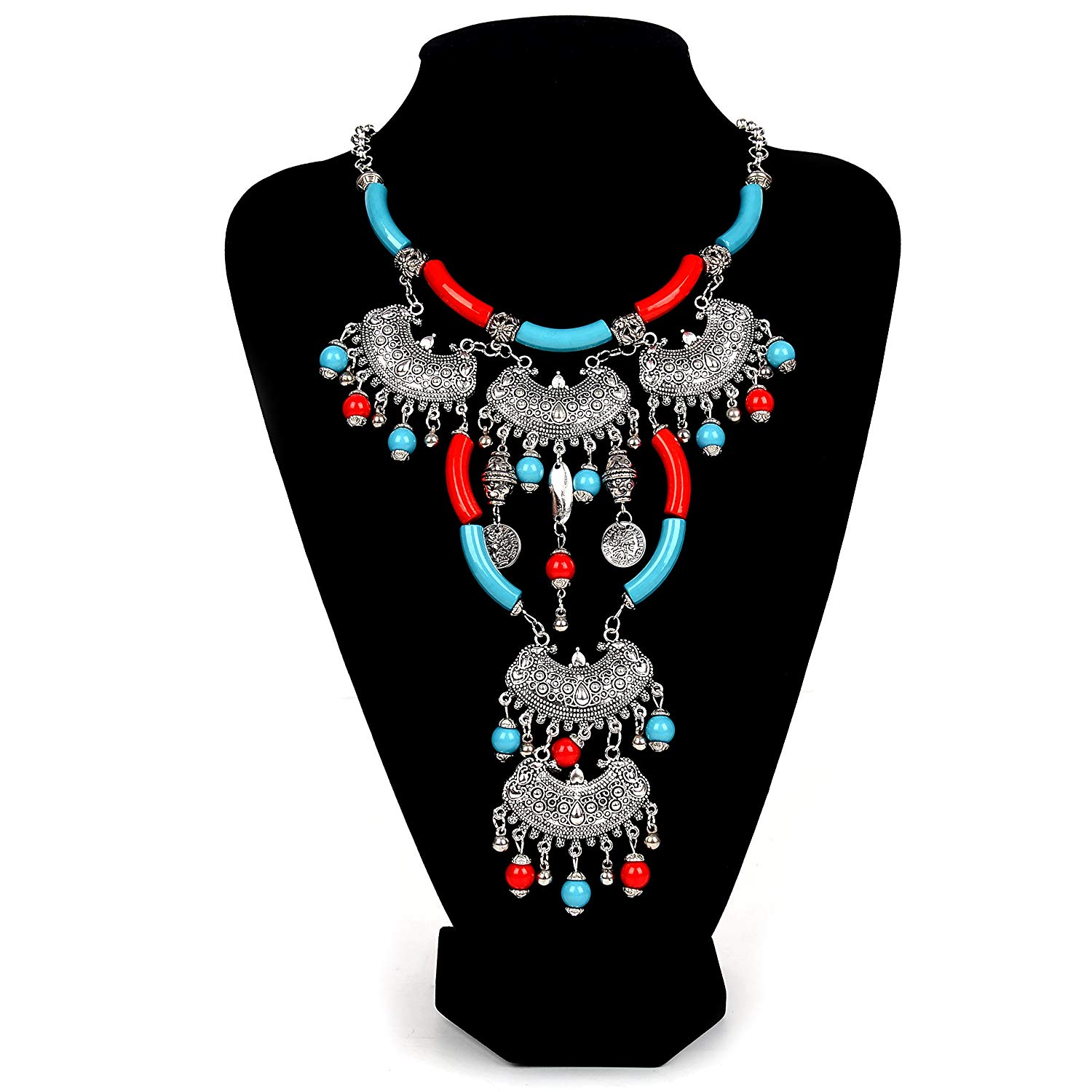 Paxuan Womens Antique Silver/Gold Alloy Vintage Boho Bohemian Turquoise Necklace Ethnic Tribal Beaded Necklace Chunky Statement Necklace
