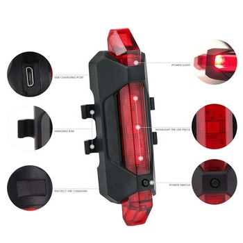 Bicycle Tail Light Usb Rechargeable Bike Taillight Cycling Rear Light