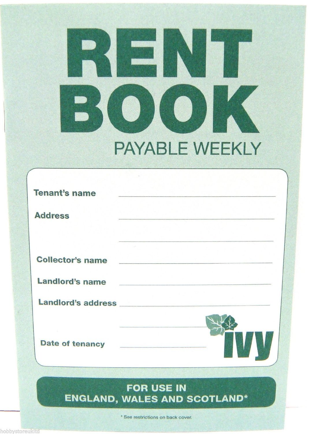 Weekly Rent Book Shorthold Rent Cash Book Payable Weekly Rent Accounts Book New