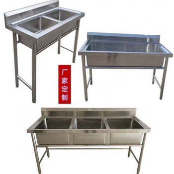 Commercial used stainless steel kitchen sinks, double bowl sink bench worktable Stainless Steel Double Bowl Sink Bench for Sale