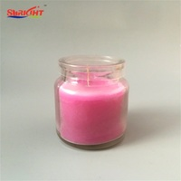 Pink Scented Hurricane Glass Jar Holder Candle with PVC Lid