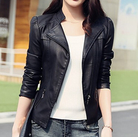 2016 autumn short jackets coats pu black women leather jackets