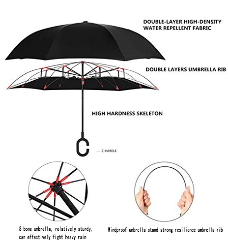 Promotional Double Layer Anti-UV Reverse Canopy by Self Standing inside Full Printed Flower Inverted Umbrella