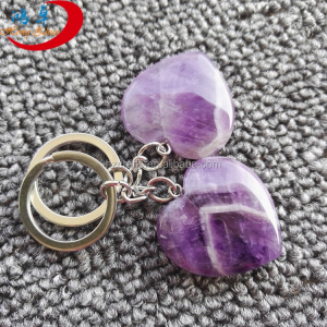 Customized promotional amethyst key chains crystal keychain