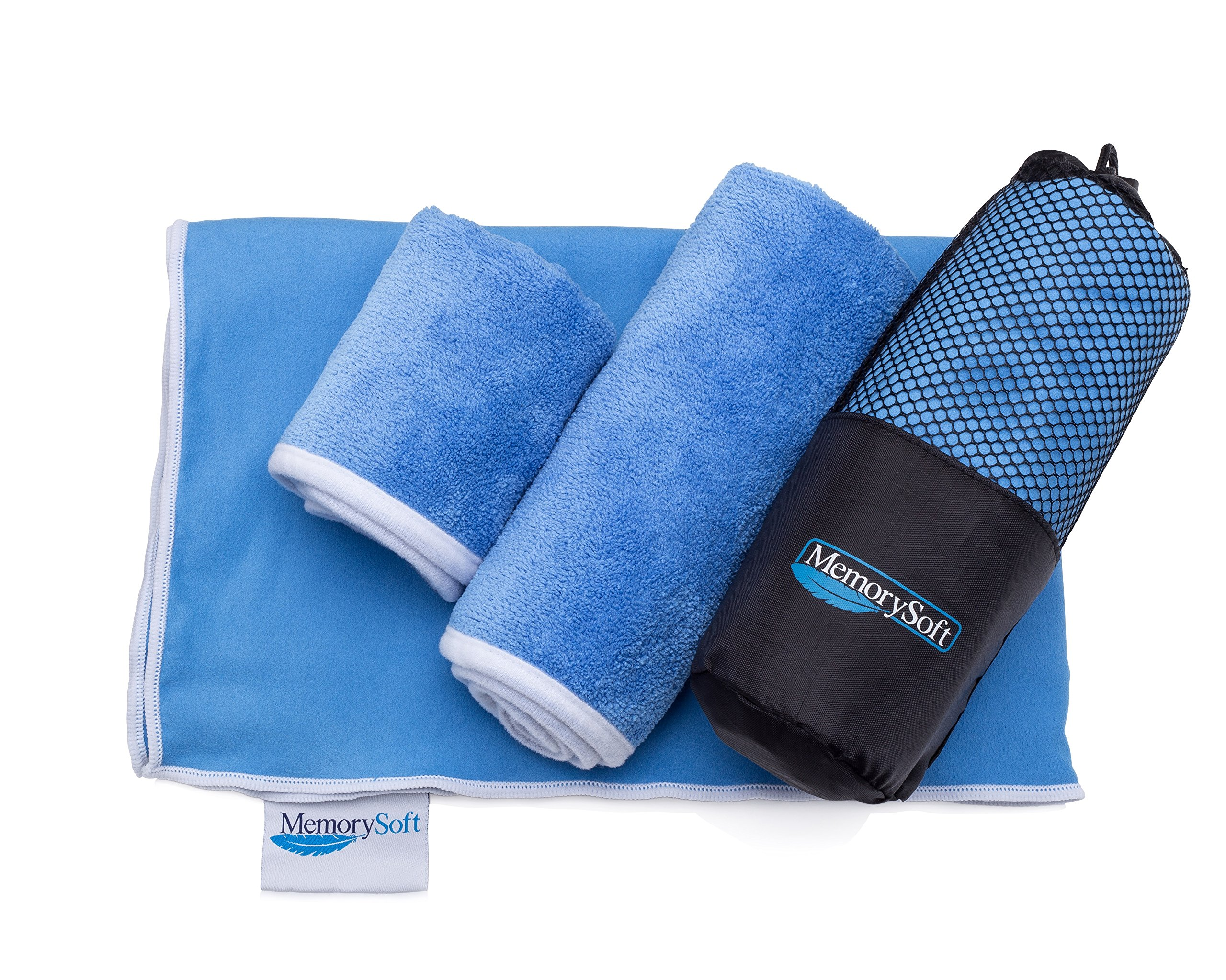MemorySoft NEW Luxury Microfiber On-the-go Quick Dry Towel By Bath Size - Includes 2 Freebie Towels & Case - Compact for Travel, Gym, Camping, and the Beach