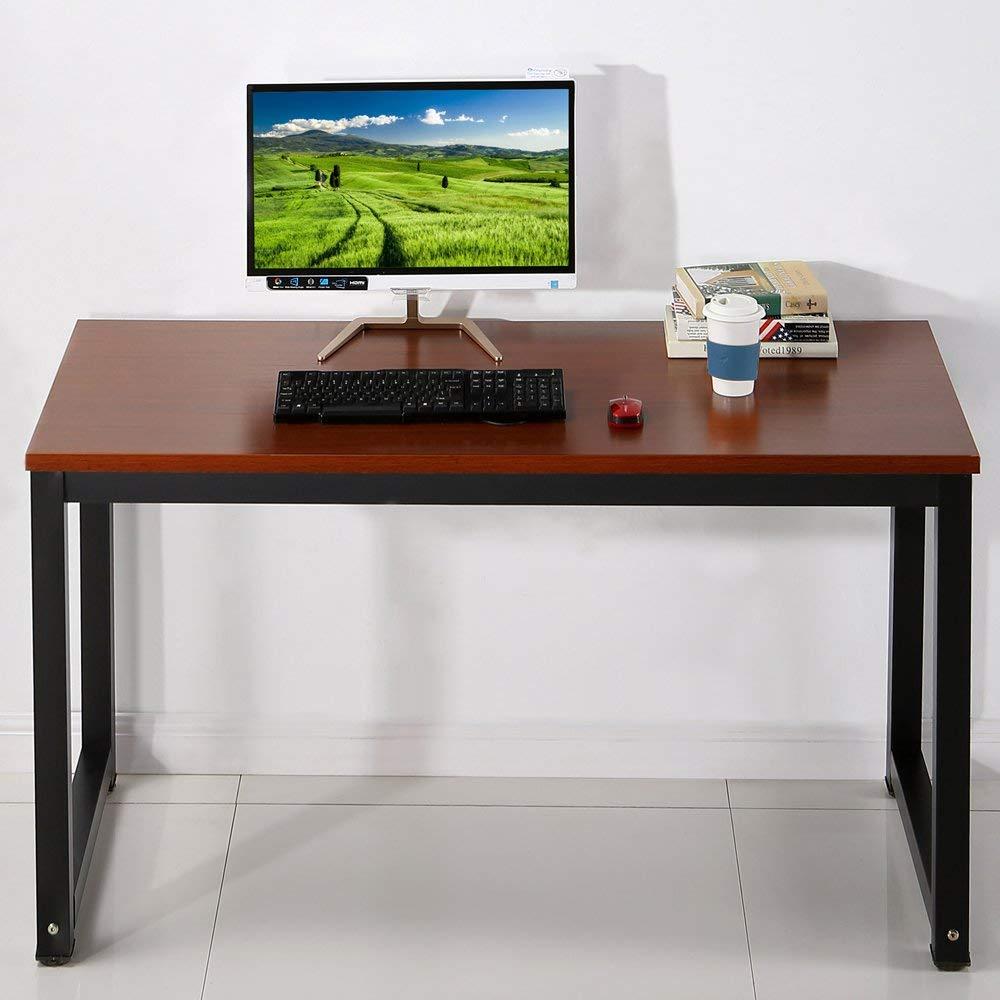 """EHOMEBUY Computer Desk Writing Desk Workstation Office Desk Dining Table, Teak + Black Leg, 55.1""""(L) X23.6(W) X29.1(H)"""