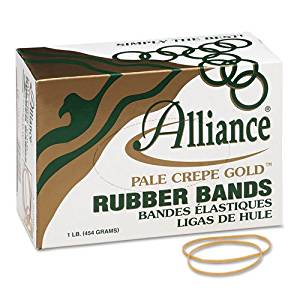 Alliance Products - Alliance - Pale Crepe Gold Rubber Bands, Size 19, 3-1/2 x 1/16, 1lb Box - Sold As 1 Box - Best choice when super stretch and longevity really count. - High rubber content. -