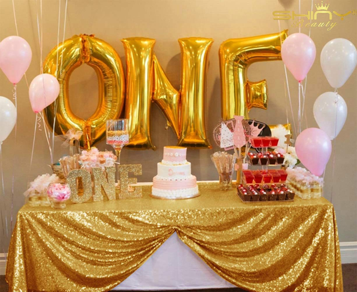 Crisky Stripe Sequin Tablecloth Gold Glitter Tablecloth Gold Party Supplies Fabric Decorations for Wedding Birthday Baby Shower