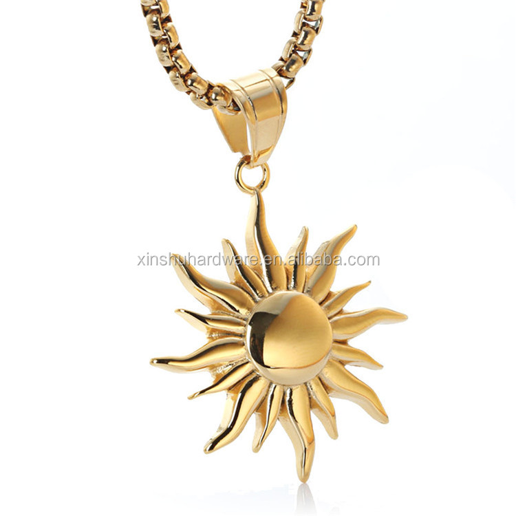 European retro personality titanium steel charm gold sun <strong>pendant</strong>