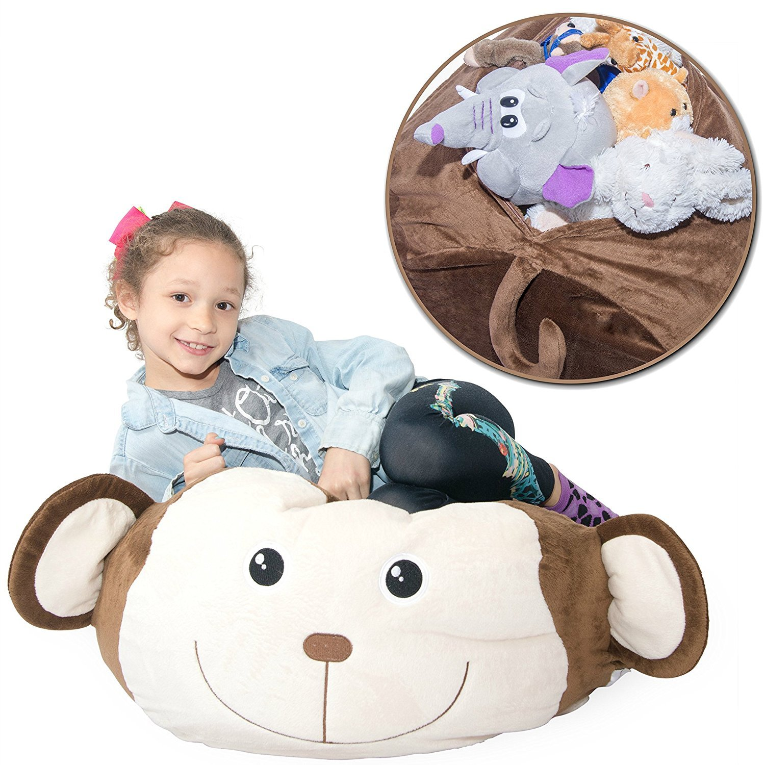 Jumbo Stuffed Animal Storage Bean Bag Chair - Super SOFT Fabric Kids Love - 3 Plush Animal Choices - Replace Your Mesh Toy Hammock or Net - Store Extra Blankets & Pillows Too