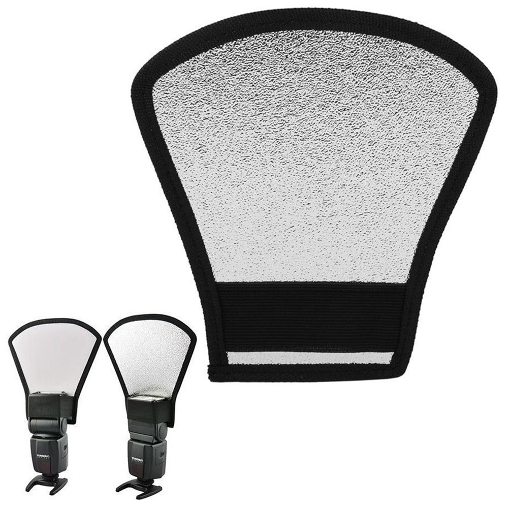Wannabuy Two-Sides Camera Flash Diffuser Silver / White Reflector for Canon/Nikon/Sony Speedlite and more