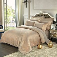 Bedding sets 4pcs cotton satin jacquard duvet quilt bed covers king queen size luury golden bedclothes comforters bedlinen.