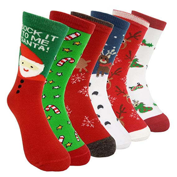 Promo custom sock 6 Pairs Women's Christmas Holiday Casual Socks Long Thin Cotton Bed Socks Christmas Stocking